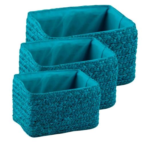 Набор корзин прямоугольных голубых