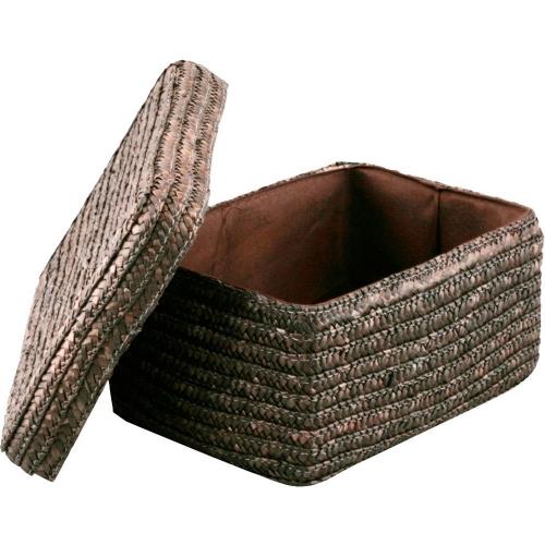 Корзина Natural House прямоугольная коричневая с крышкой XS