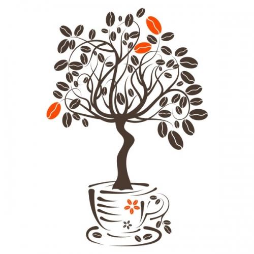 Виниловая Наклейка Glozis Coffee Tree