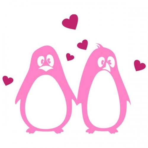 Виниловая Наклейка Glozis Penguins in Love
