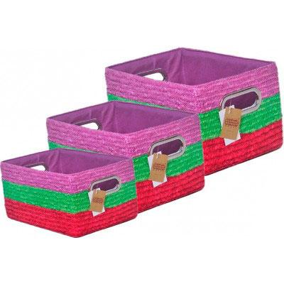 Набор корзин прямоугольных микс цвет