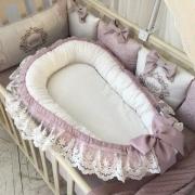 Кокон для новорожденных Маленькая Соня De Lux пыльная роза