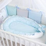 Кокон для новорожденных Универсальный однотонный голубой