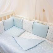 Постельный комплект Baby Design Премиум  Кролики голубой 6 ед.