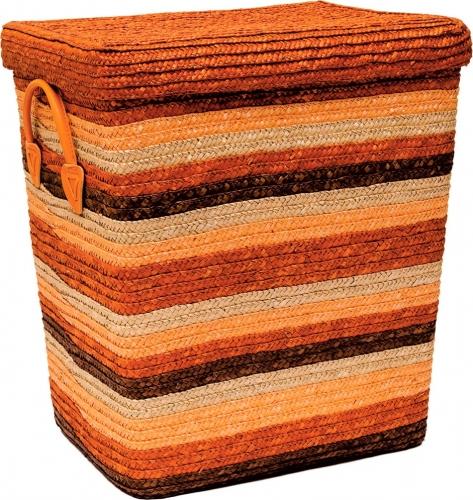 Корзина для белья с крышкой большая оранжевая L
