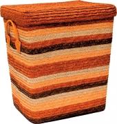 Корзина для белья с крышкой малая оранжевая S