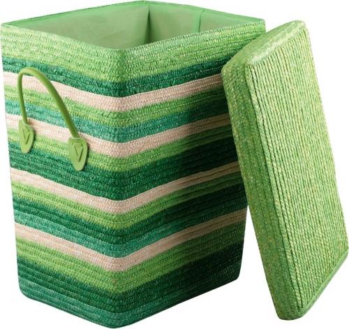 Корзина для белья с крышкой большая зеленая L