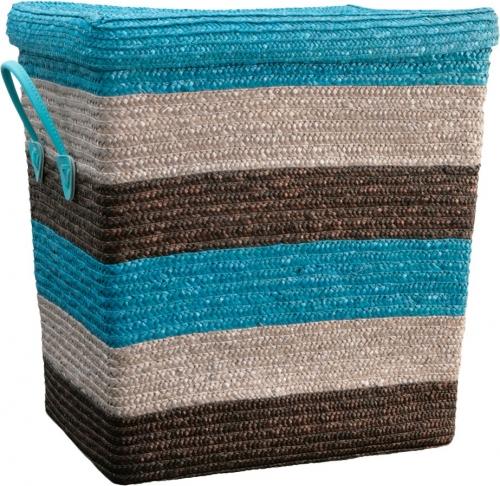 Корзина для белья с крышкой большая голубые/коричневые полоски L