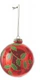 Елочный стеклянный шарик Лист 8 см цвет красный 39786