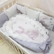 Кокон для новорожденных Маленькая Соня Magic Зайка серебро