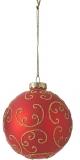 Елочный стеклянный шарик Орнамент 8 см цвет красный 39786