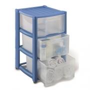 Пластиковый комод Professional на 3 ящика синий,белый,черный