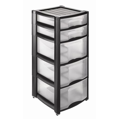 Пластиковый комод Professional на три глубоких и два узких ящика