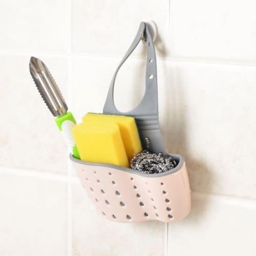 Подвесная корзинка для кухонных губок розовая