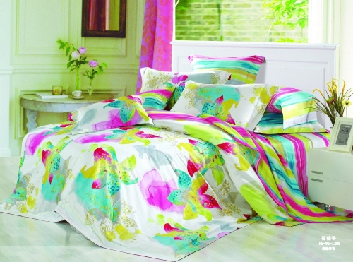 Полуторный комплект постельного белья Сатин «Акварель»