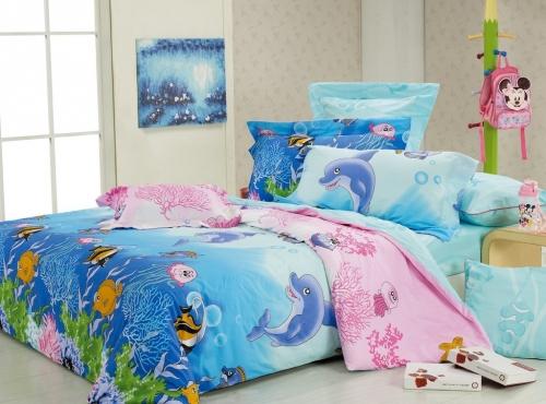 Полуторный комплект постельного белья Сатин «Морская сказка»