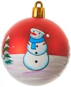 Елочный пластиковый шарик 6 см Снеговик 38970